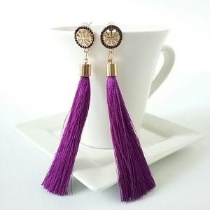 Jewelry - Purple Tassel Geometric Post Crystal Earrings